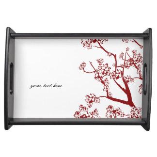 Bandeja oriental de la porción de la flor de cerez