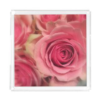 Bandeja rosada del acrílico del cuadrado de los bandeja cuadrada