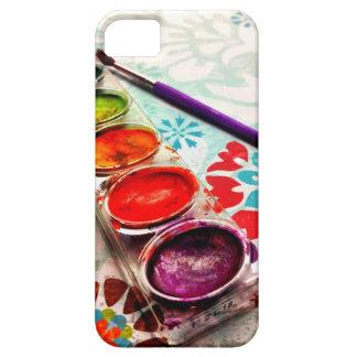Bandeja y cepillo de la pintura del artista de la funda para iPhone 5 barely there