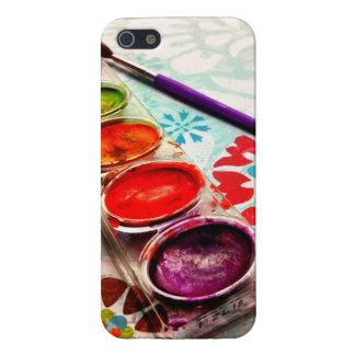 Bandeja y cepillo de la pintura del artista de la iPhone 5 fundas