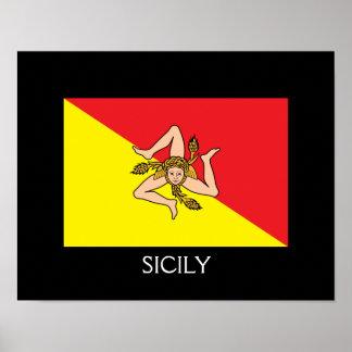"""Bandera 14"""" de Sicilia x 11"""", papel de poster del"""
