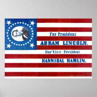 Bandera 1860 de la campaña presidencial de Abraham Póster