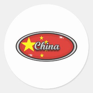 Bandera 1 de China Pegatina Redonda