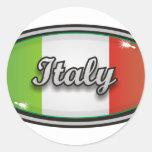 Bandera 1 de Italia Etiquetas Redondas