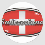 Bandera 1 de Suiza Pegatinas Redondas