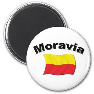 Bandera 2 de Moravian Imán Redondo 5 Cm