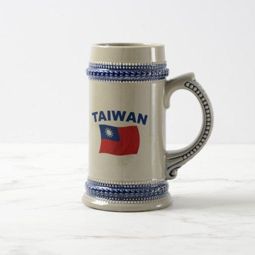Bandera 2 de Taiwán Jarra De Cerveza