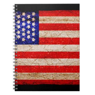 Bandera 2 de Vintagel del americano Libretas