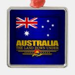 Bandera 3 de Australia Adorno Cuadrado Plateado