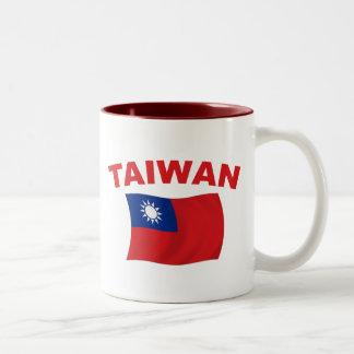 Bandera 3 de Taiwán Taza De Dos Tonos