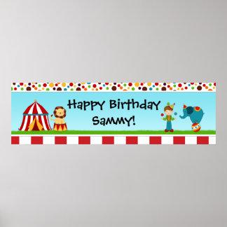 Bandera 40x12 de la fiesta de cumpleaños del circo póster