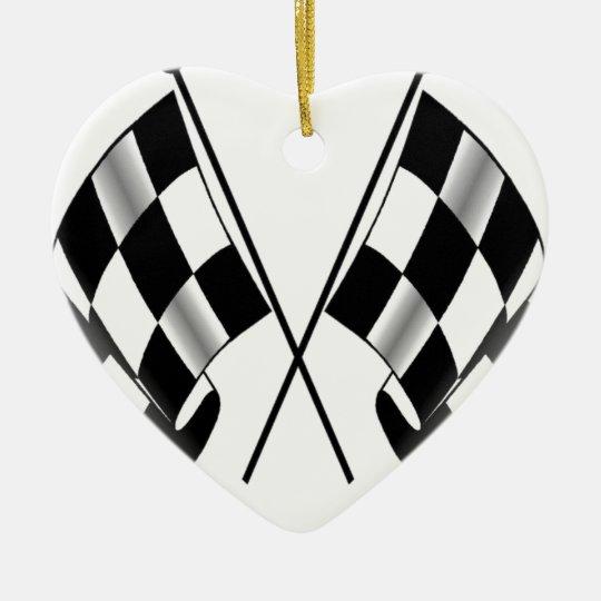 bandera a cuadros adorno navideño de cerámica en forma de corazón
