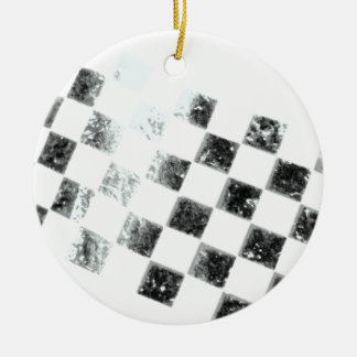 Bandera a cuadros adorno navideño redondo de cerámica