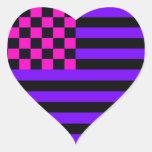Bandera a cuadros americana 1 IURB Pegatina Corazón Personalizadas
