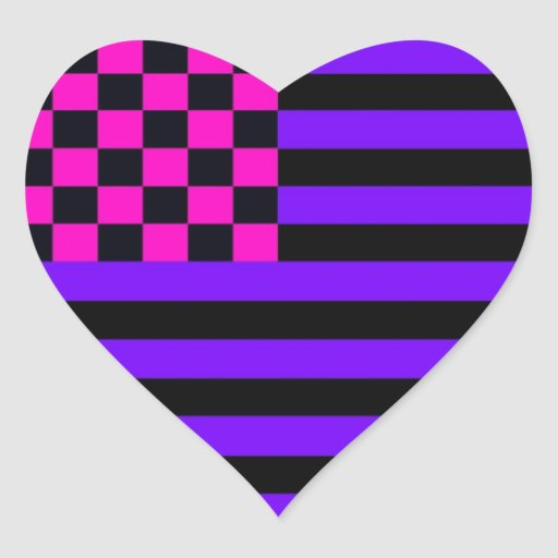 Bandera a cuadros americana 1 IURB Pegatina En Forma De Corazón