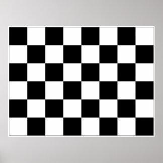 Bandera a cuadros blanco y negro el competir con a impresiones