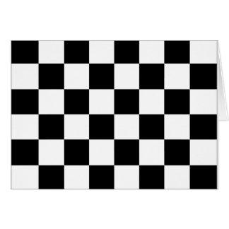 Bandera a cuadros blanco y negro el competir con a felicitacion