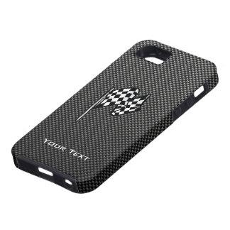 Bandera a cuadros de la mirada de la fibra de carb iPhone 5 Case-Mate coberturas
