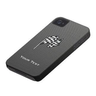 Bandera a cuadros de la mirada de la fibra de carb iPhone 4 Case-Mate carcasa