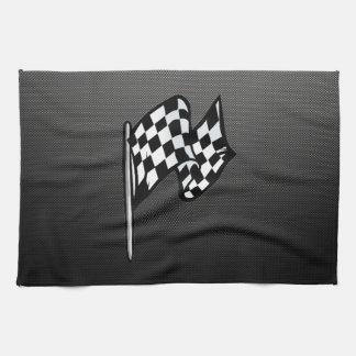 Bandera a cuadros de la mirada de la fibra de carb toallas de cocina