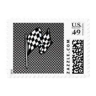 Bandera a cuadros de la mirada de la fibra de estampillas