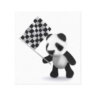 bandera a cuadros de la panda del bebé 3d impresiones en lona estiradas