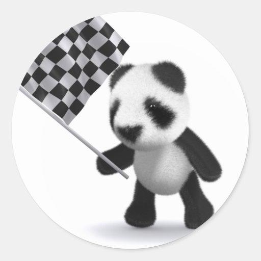 bandera a cuadros de la panda del bebé 3d pegatina redonda