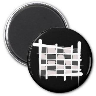 Bandera a cuadros del cepillo que compite con imán redondo 5 cm