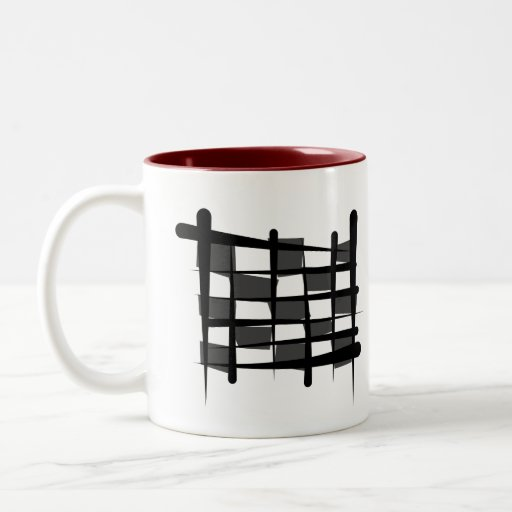 Bandera a cuadros del cepillo que compite con tazas de café
