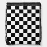 Bandera a cuadros del tablero de damas blanco y ne mochilas