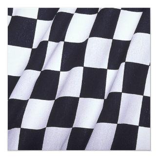 """Bandera a cuadros invitación 5.25"""" x 5.25"""""""
