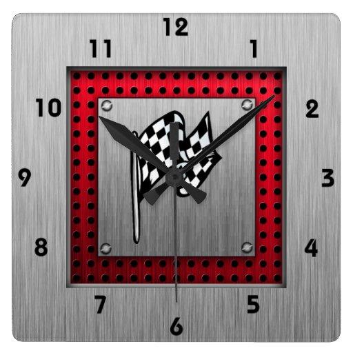 Bandera a cuadros; mirada de aluminio cepillada reloj cuadrado