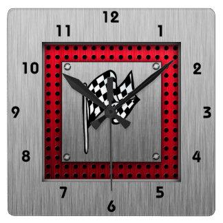 Bandera a cuadros; mirada de aluminio cepillada reloj