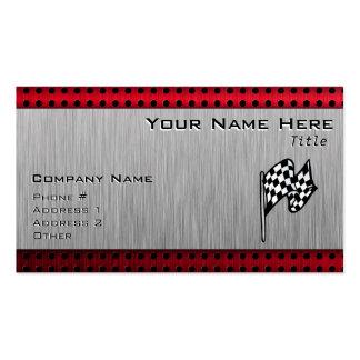 Bandera a cuadros; mirada de aluminio cepillada tarjetas de visita