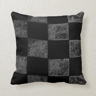 Bandera a cuadros negra y gris cojín
