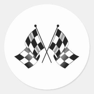 bandera a cuadros etiquetas redondas