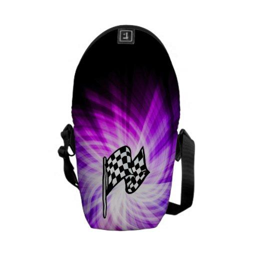 Bandera a cuadros; púrpura bolsa de mensajeria