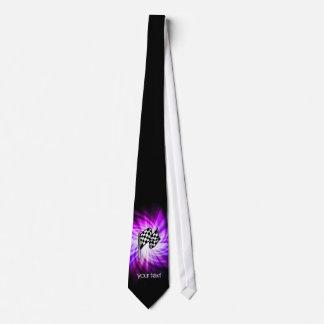 Bandera a cuadros; púrpura corbatas personalizadas