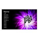 Bandera a cuadros; púrpura plantilla de tarjeta de negocio