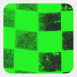 Bandera a cuadros verde clara calcomanias cuadradas