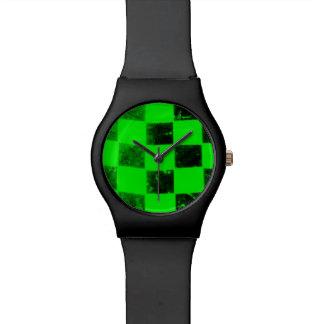 Bandera a cuadros verde relojes de pulsera