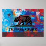 Bandera abstracta de California Póster