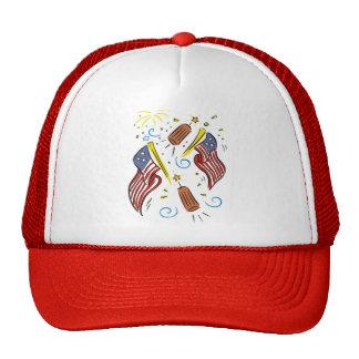 Bandera adaptable de la diversión, fuegos artifici gorras de camionero