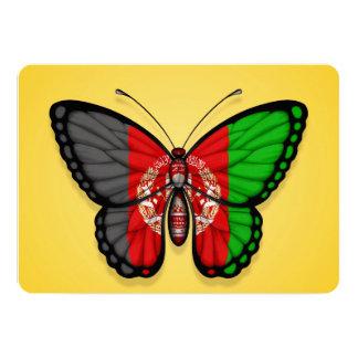 """Bandera afgana de la mariposa en amarillo invitación 5"""" x 7"""""""