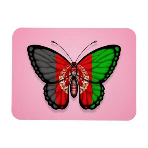 Bandera afgana de la mariposa en rosa rectangle magnet