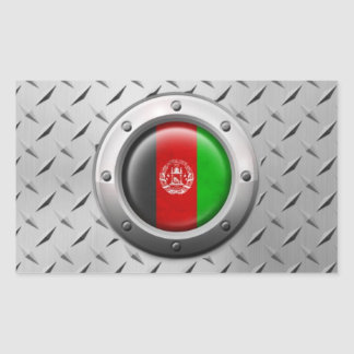 Bandera afgana industrial con el gráfico de acero pegatina rectangular