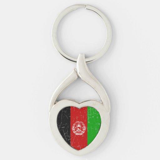 Bandera afgana rascada y rasguñada llaveros
