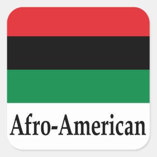 Bandera afroamericana y nombre pegatina cuadrada