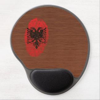 Bandera albanesa de la huella dactilar del tacto alfombrilla con gel