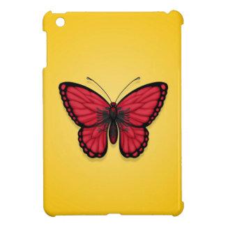 Bandera albanesa de la mariposa en amarillo
